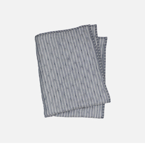 Organic Cotton Quilt Blanket - Blue Stripe - 80x100cm