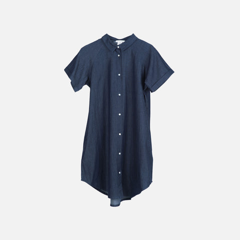 Ladies Organic Cotton Shirt Dress - Denim - S-XL