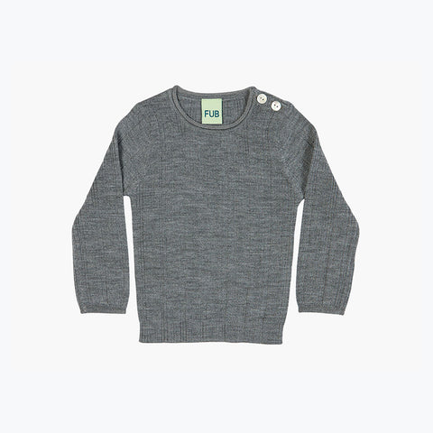 Merino Baby Rib Top - Grey - 9m