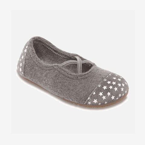 Wool/Leather Ballerina Slipper Shoe - Grey - 25-32 (UK8-13)