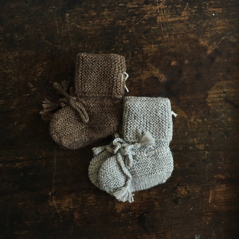 Hand Knitted Alpaca Booties - Brown or Grey - 3-12m