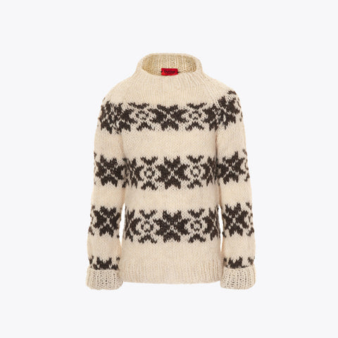 Hand knitted traditional Faroese wool sweater - Natural/Brown - 2-12 years