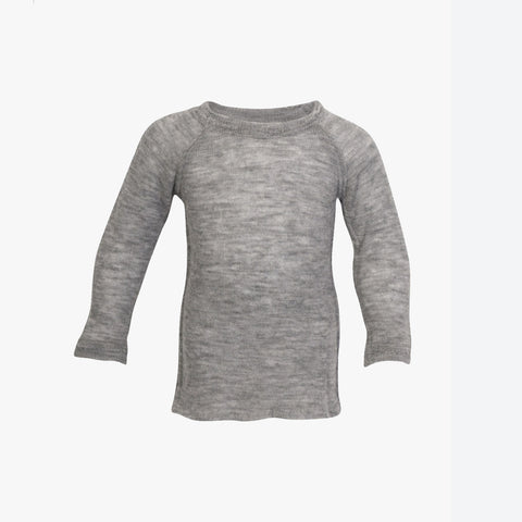 Thin organic wool sweater with raw edges Grey 2y-8y
