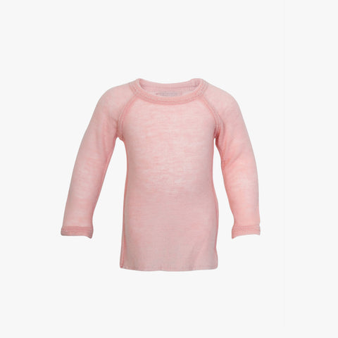 Thin organic wool sweater with raw edges Rose 2y-8y
