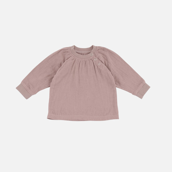 Organic Cotton Muslin Blouse - Rose - 1-2y