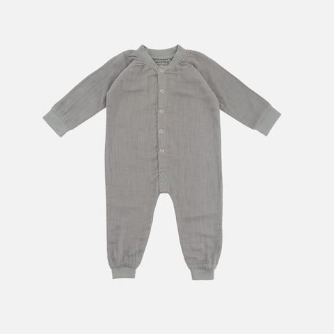 Organic Cotton Muslin Romper - Dusty Green - 0m-3y