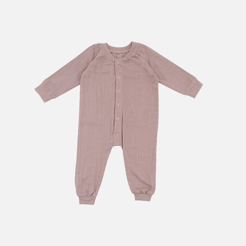 Organic Cotton Muslin Romper - Rose - 0m-3y