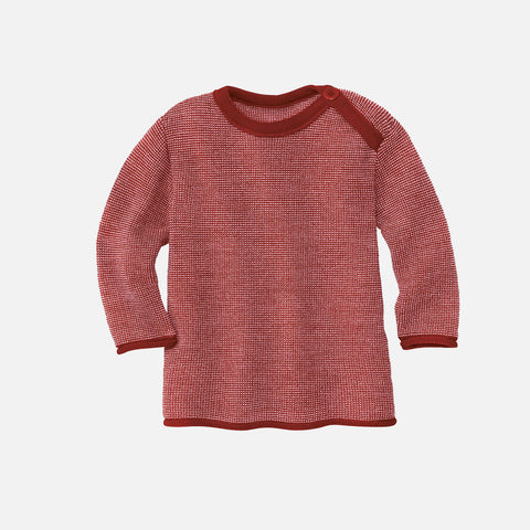 Organic Merino Wool Baby Jumper - Bordeaux/Rose
