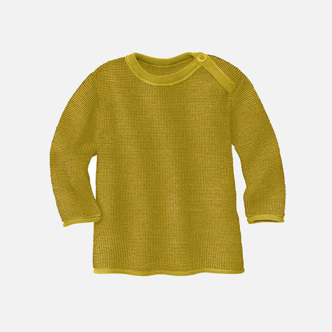 Organic Merino Wool Baby Jumper - Curry/Gold