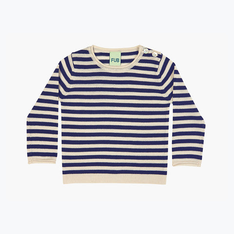 Fine Merino Stripe Top - Navy/Ecru - 9-12m