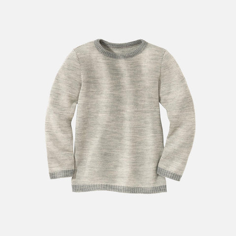 Organic Merino Jumper - Grey/Natural - 2-10y