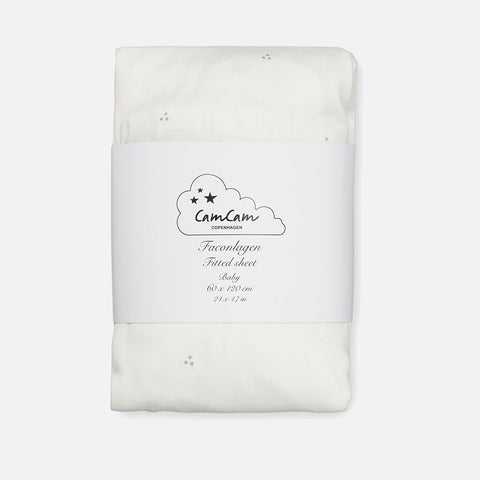 Organic Fitted Sheet - Creme Dot - Cot