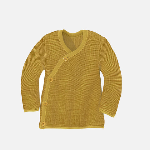 Organic Merino Wool Baby Cardigan - Curry/Gold