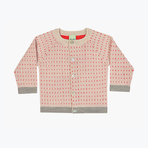 Merino Baby Dot Cardigan - Ecru/Red - 3-9m