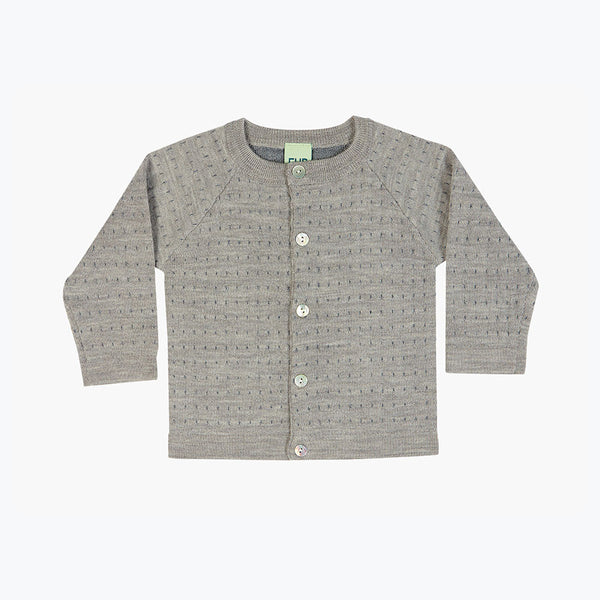 Merino Baby Dot Cardigan - Grey - 0-24m