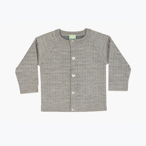 Merino Baby Dot Cardigan - Grey - 6-12m