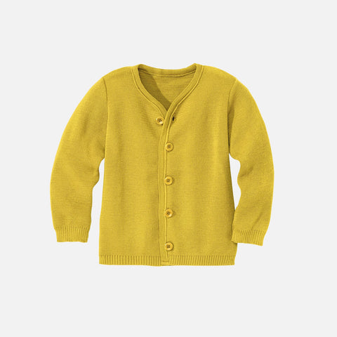 Organic Merino Cardigan - Curry - 1-10y