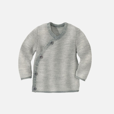 Organic Merino Baby Cardigan - Grey/Natural