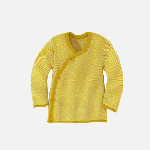 Organic Merino Baby Cardigan - Curry/Natural - 0-2y