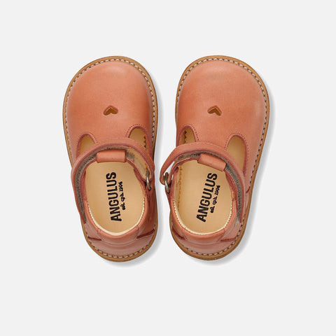 T-Bar Heart Toddler Shoes - Light Coral - 20 (UK 4) - 25 (UK 8)