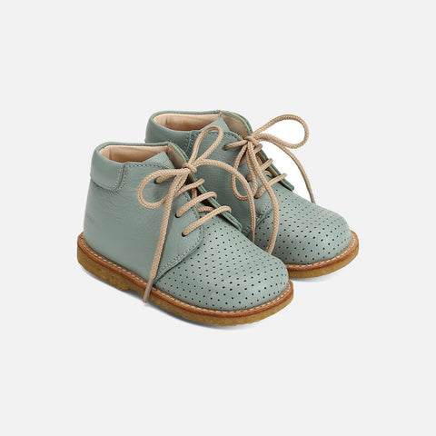 Toddler Lace Up  Hole Pattern Shoes - Dusty Mint - 20 - 21