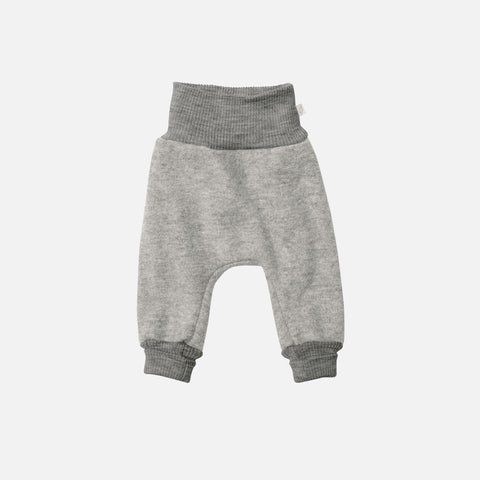 Organic Boiled Merino Wool Cuffed Pants - Grey