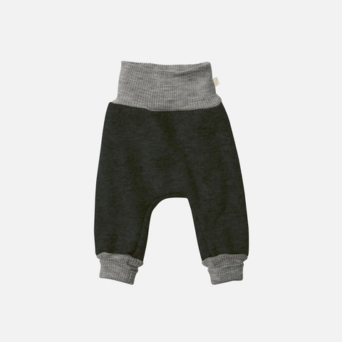 Organic Boiled Merino Wool Cuffed Pants - Anthracite