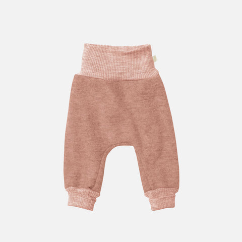Organic Boiled Merino Wool Cuffed Pants - Rose