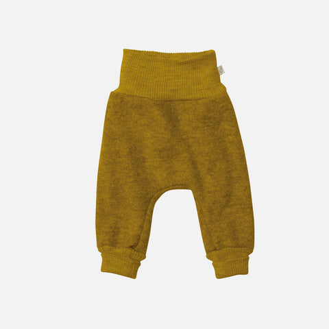 Organic Boiled Merino Wool Cuffed Pants - Gold