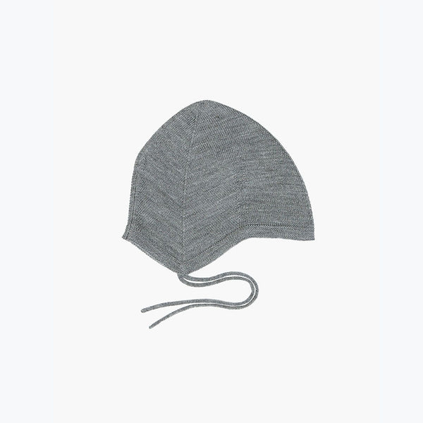 Fine Merino Wool Baby Hat - Grey - 9-12m