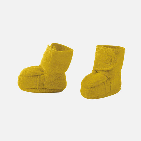 Organic boiled wool booties - Curry