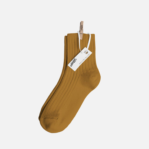 Adult Cotton Short Socks - Mustard