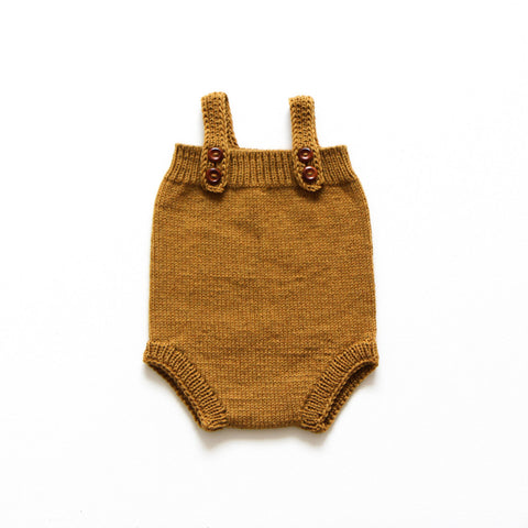 Hand-Knit Merino Wool Prolet Romper - Ginger - 2-3y