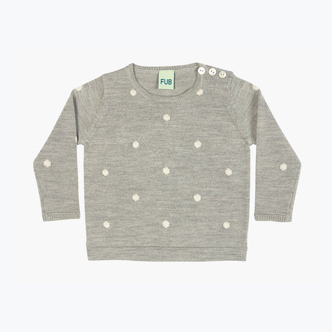 Merino Baby Dot Light Sweater - Light Grey - 3-9m