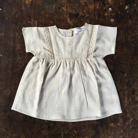 Cotton/Linen SS Lace Dress - Light Tan - 6-18m & 10y
