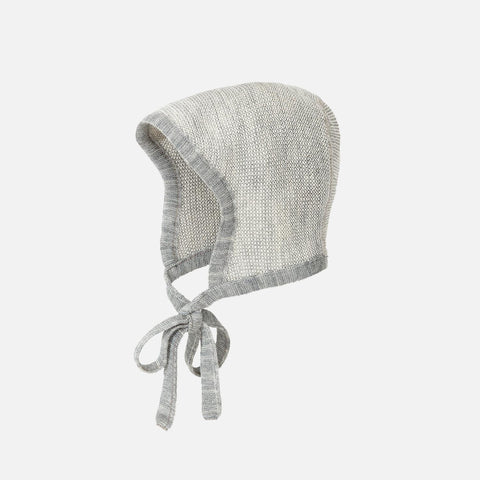 Organic Merino Knitted Bonnet - Grey/Natural - 0-10m