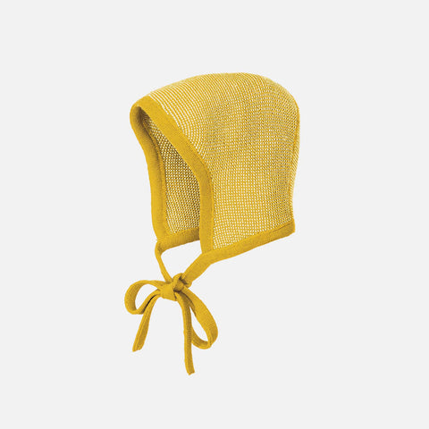 Organic Merino Knitted Bonnet - Curry/Natural
