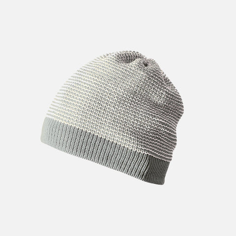 Organic Knitted Merino Beanie - Grey/Natural - 6m-6y