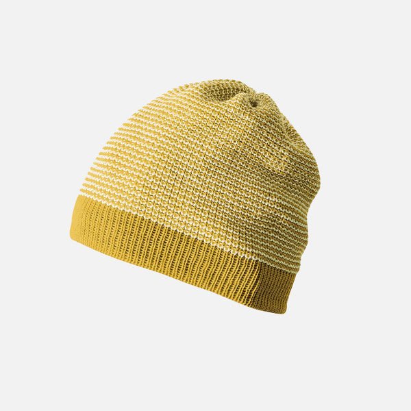 Organic Knitted Merino Beanie - Curry/Natural - 6m-6y