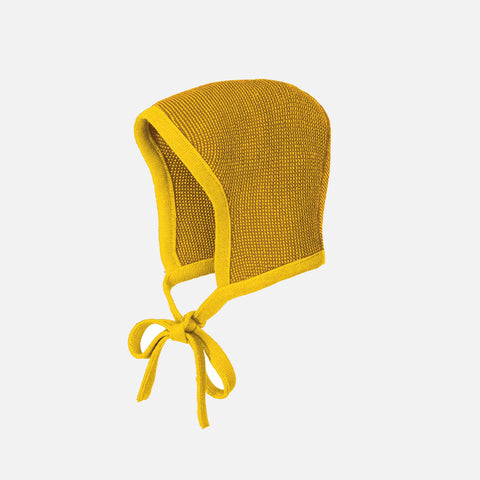 Organic Merino Knitted Bonnet - Curry/Gold