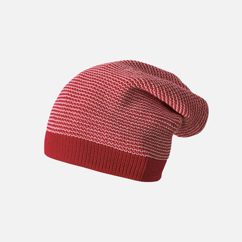 Organic Knitted Merino Long Beanie - Bordeaux/Rose
