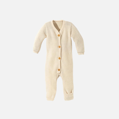 Organic Merino Knitted Baby Suit - Natural