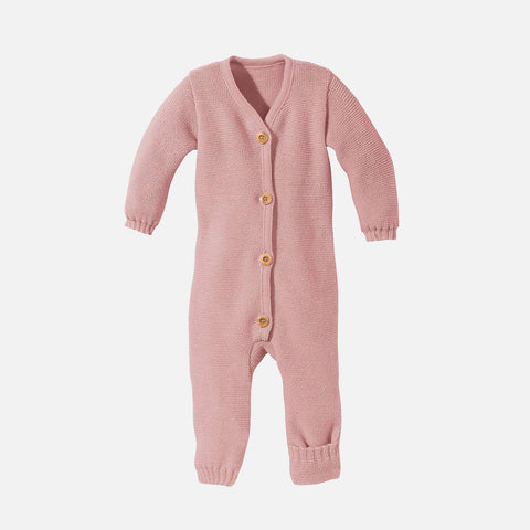 Organic Merino Knitted Baby Suit - Rose - 0-3m