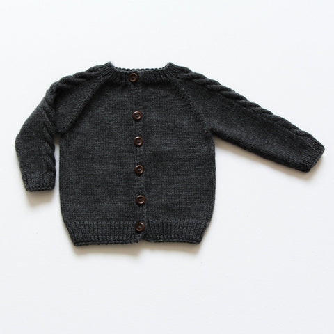 Hand-Knit Merino Wool Leda Cardigan - Grey - 4-5y