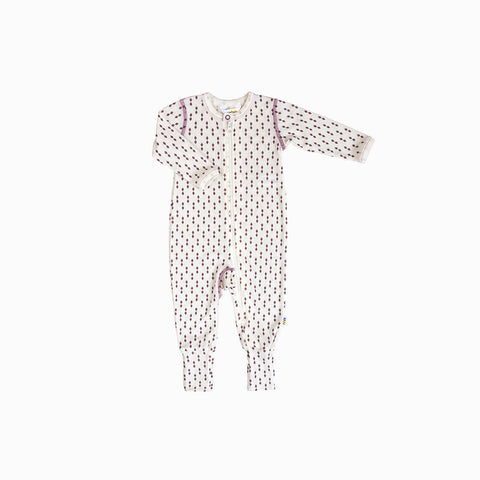 Merino Wool Diamonds Romper - Ecru/Rose - 0m-3y