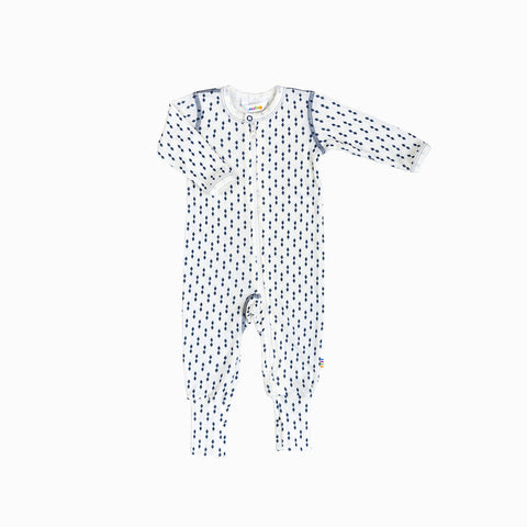 Merino Wool Diamonds Romper - Ecru/Blue - 0m-3y