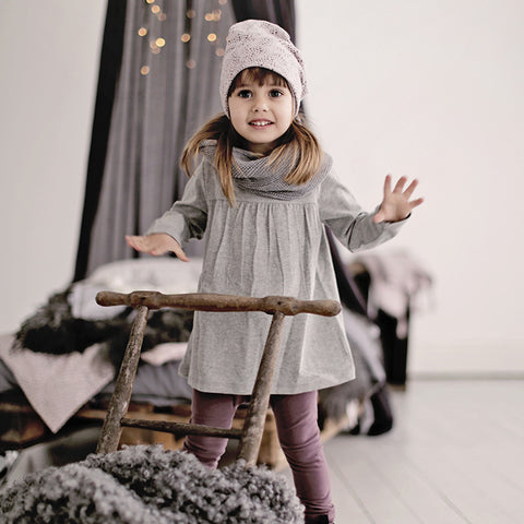 Organic Cotton Heather Tea Tunic - Grey Melange - 3-12m