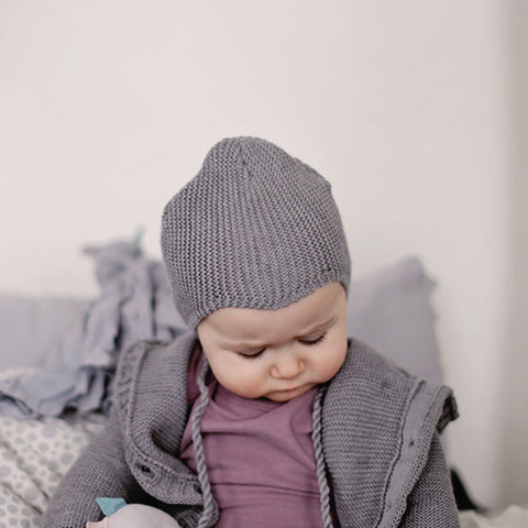 Merino/Cotton Hannes bonnet - Grey - 0-6m