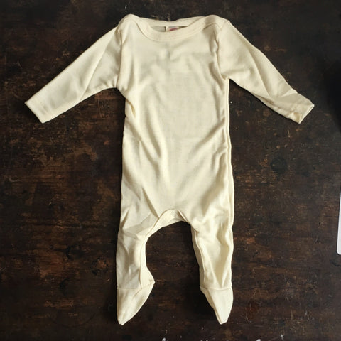 Organic Silk & Merino Wool Footed Pyjamas - Natural - 0m-2y