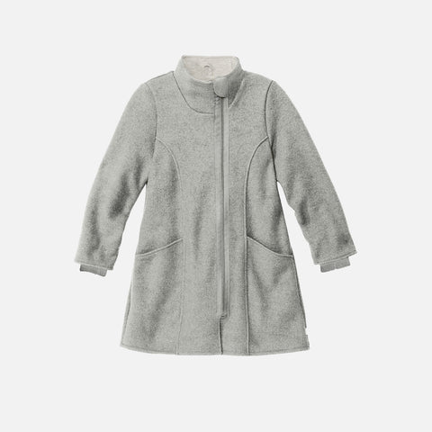 Organic Boiled Wool Long Kids Coat- Grey
